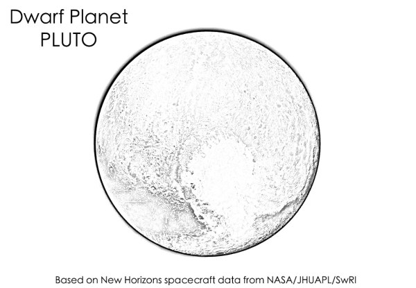 Dwarf planet Pluto coloring page