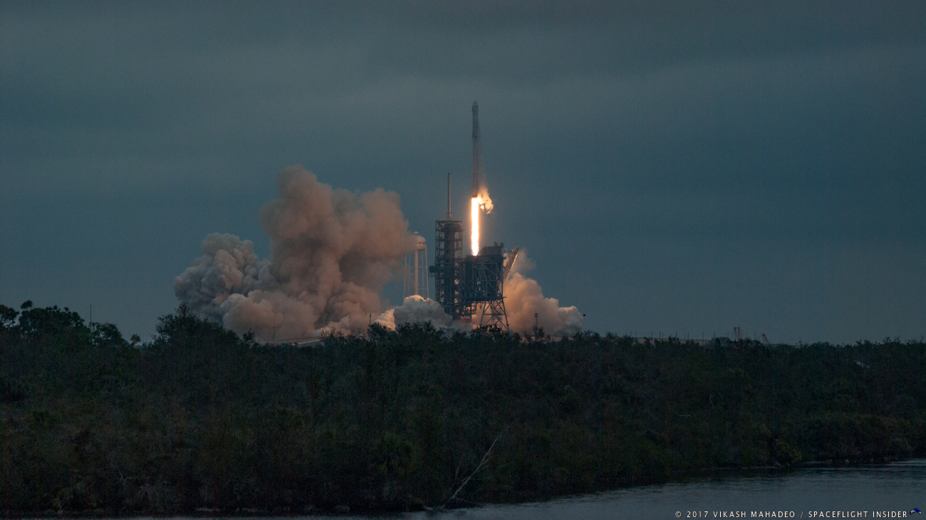 SpaceX's CRS-10 Falcon 9 rocket and Dragon spacecraft lift off from historic Launch Complex 39A at NASA's Kennedy Space Center in Florida. Liftoff occurred at 9:38 a.m. EST (14:38 GMT). Photo Credit: Vikash Mahadeo / SpaceFlight Insider