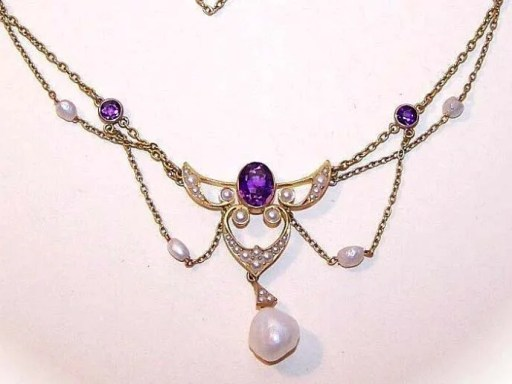 ANTIQUE EDWARDIAN 14K Gold, Amethyst & Natural Seed Pearl Festoon Necklace