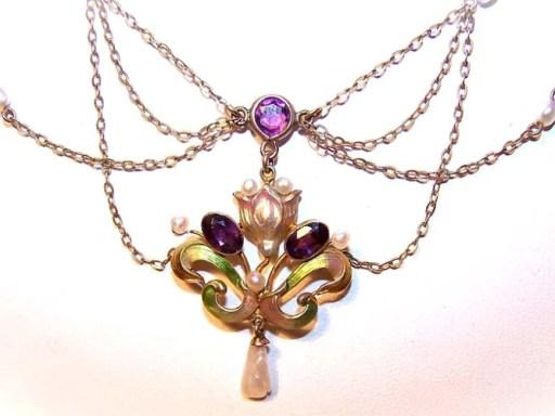 ART NOUVEAU 10K Gold, Enamel, Amethyst & Natural Pearl Festoon Necklace