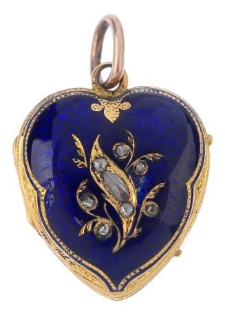 Victorian Blue Enamel Heart Pendant
