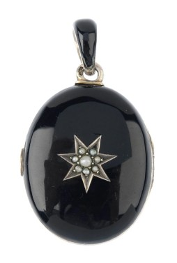 Black Enamel Victorian Locket