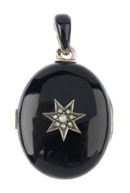 Black Enamel Victorian Locket