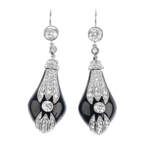 A pair of Art Deco diamond and onyx earrings.