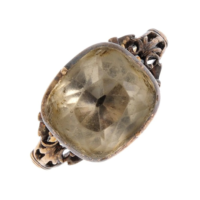 A late Georgian gold rock crystal ring.