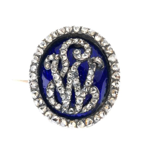 Antique monogram diamond brooch
