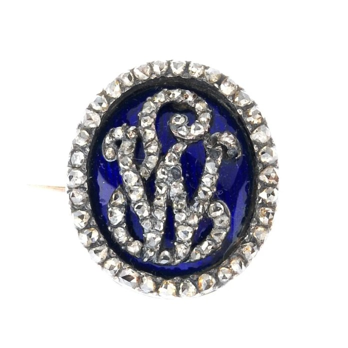 Antique monogram diamond brooch