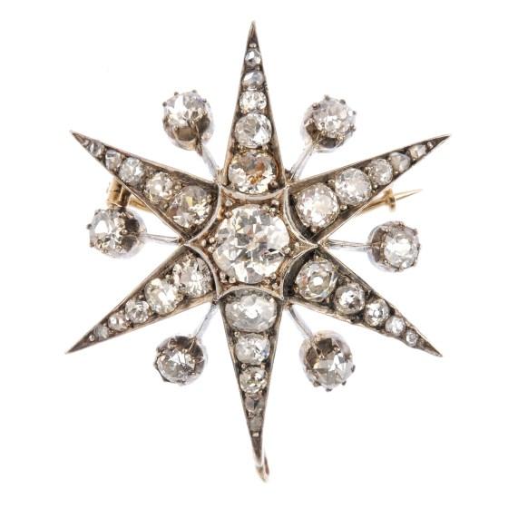 A late Victorian diamond star brooch.