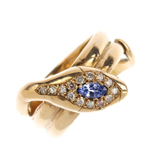 An early 20th century sapphire and diamond snake ring.
