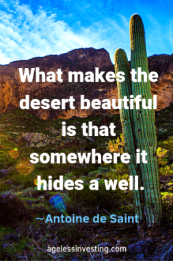 """A cactus in the desert. Headline quote: """"What makes the desert beautiful is that somewhere it hides a well"""" -Antoine de Sainte"""