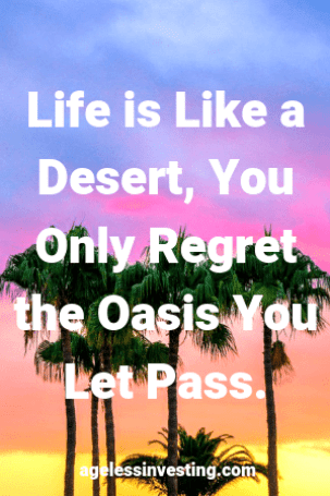 """Palm trees against a yellow, orange, red, pink, and blue sky. Headline quote: """"Life is like a desert you only regret the oasis you let pass"""" agelessinvesting.com"""