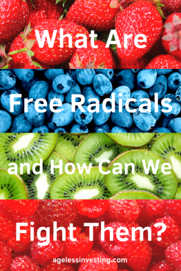 "Strawberries, blueberries, kiwis, and raspberries, headline ""What are free radicals and how can we fight them?"""