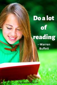 "A smiling girl reading a book outside, headline quote ""do a lot of reading"" -Warren Buffett"