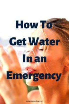"A picture of a woman drinking a glass of water, headline ""how to get water in an emergency"""