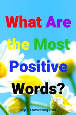 "Daises against a blue sky, headline ""What Are the Most Positive Words?"""