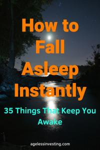 """The moon glowing over water, headline """"How to Fall Asleep Instantly 35 Things That Keep You Awake"""""""