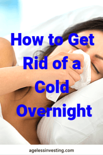 "A woman in bed using a tissue, headline ""How to Get Rid of a Cold Overnight"""