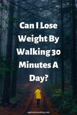 "A man walking through the fog in a forest, headline ""Can I lose weight walking 30 minutes a day?"""