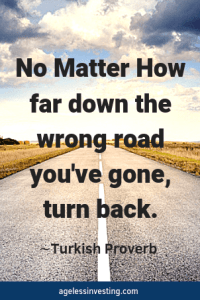 """A long, straight road on a cloudy day, quote """"No matter how far down the wrong road you've gone, turn back"""" -Turkish Proverb"""