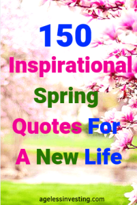 "Pink flowers blooming, headline ""Inspirational Spring Quotes For A New Life"""