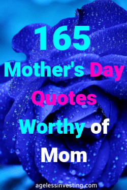 "A misty blue rose, headline ""Mother's Day Quotes Worthy of Mom"""