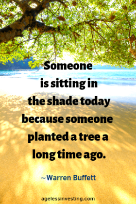 "A tree shading a beach from the sun, headline quote ""Someone is sitting in the shade today because someone planted a tree a long time ago.""-Warren Buffett"