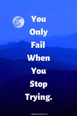"A picture of a full moon over a range of blue mountains, quote ""you only fail when you stop trying"""