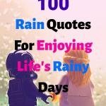 "A picture of two Lego characters holding hands and watching the rain through a window, headline ""100 Rain Quotes For Enjoying Life's Rainy Days"""