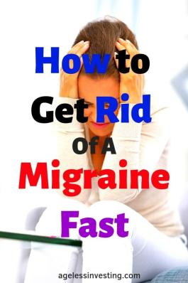 "A woman with a migraine with her hands on her head, headline ""how to get rid of a migraine fast"
