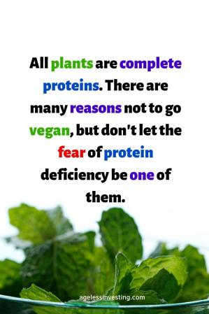"""Green leafy vegetables against a white background, headline quote """"""""All plants are complete proteins and contain all nine essential amino acids. There are many reasons not to go vegan, but don't let the fear of protein deficiency be one of them."""""""