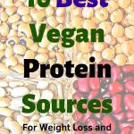 "A close uo of beens and legumes, headline ""10 Best Vegan Protein Sources for weight loss and building muscle"""