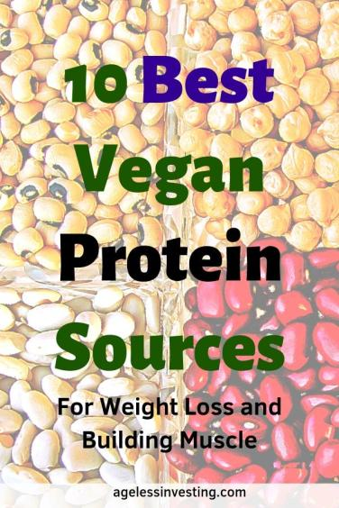 """A close up of beans and legumes, headline """"10 Best Vegan Protein Sources for weight loss and building muscle"""""""