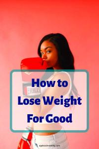"""Photo of a woman wearing boxing gloves, headline """"How to Lose Weight For Good"""""""