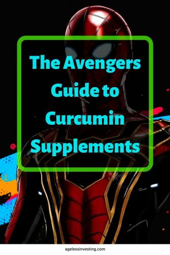 "Picture of a superhero, headline ""Curcumin Vs. Turmeric: The Avengers Guide to Curcumin Supplements"""