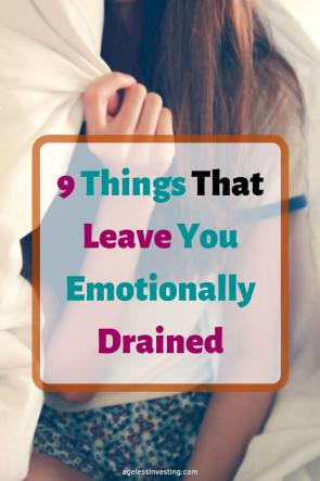 "A woman holding a blanket over her head, headline ""9 things that leave you emotionally drained"""