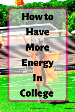 "A picture of a energetic girl in a yellow graduation robe throwing her graduation cap, headline ""how to have more energy in college"""