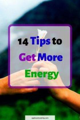 "A picture of a hand handing a white flower to another hand, headline ""14 tips to get more energy"""