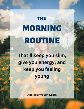 """A picture of a smiling young woman sitting in a field of yellow flowers, headline """"The Morning Routine That Will Keep You Slim, Give You Energy, and Keep You Feeling Young"""""""
