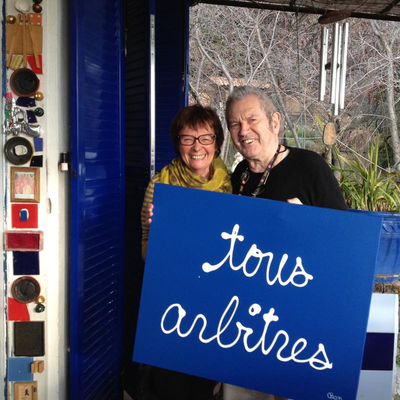 Claude Lamon et l'artiste Ben pour la campagne de communication