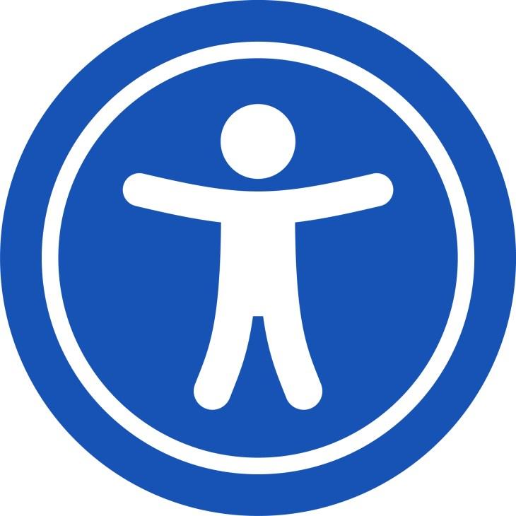Image de l'accessiblité :  personne en blanc dans un cercle bleu