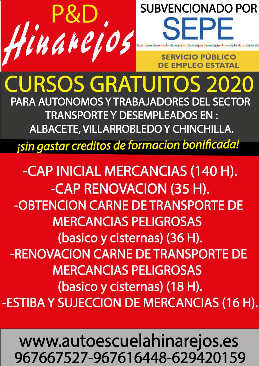 Cursos gratuitos 2020 para el sector transporte. Albacete, Villarrobledo y Chinchilla.