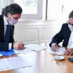 """Santiago Cafiero firmó un convenio de conectividad con el gobernador Jalil: """"La fibra óptica es un derecho"""""""