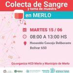 """Campaña de donación de sangre en Merlo: """"Colecta de Sangre y toma de muestra el martes 15 de junio en el HCD"""""""