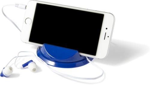 Soporte para móvil con auriculares
