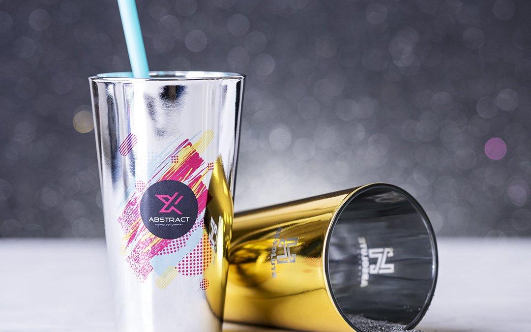 Vasos personalizados para fiestas y eventos – Cristal Dorado y plateado