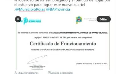 Rafael Obligado: La Provincia Habilita Cuartel de Bomberos