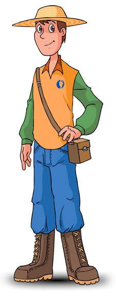 Robinson Personaje de un video empresarial animado