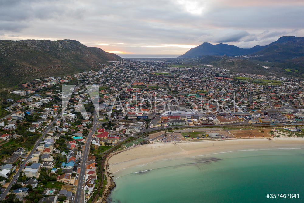 Aerial view of the quaint ocean front community of Fish Hoek, South Africa