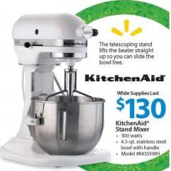 Walmart Kitchen Aid Mixer Plates Set Kitchenaid 4 5qt Stand 130 Black Friday Chicago Foodies