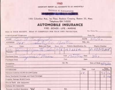 Memory Lane, Assigned Risk Auto Insurance Circa 1960